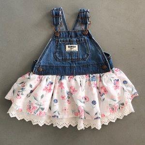 OshKosh B'gosh floral skirted overalls